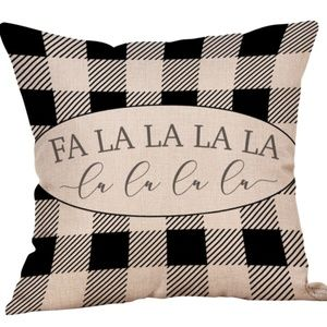Pillow Cover- NEW- Christmas Plaid Fa La La Black